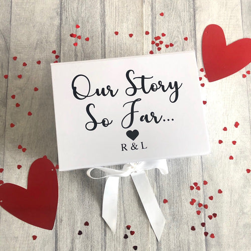 Our Story So Far... Personalised Initials Small Valentine / Anniversary Keepsake Memory Gift Box