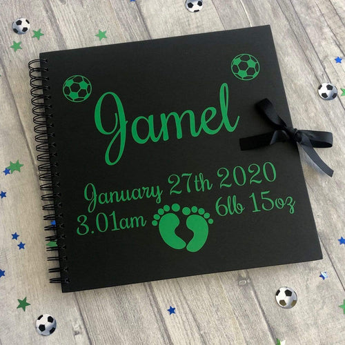 Personalised Black Scrapbook Football Newborn Christening Gift 12x12 inch