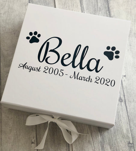 Personalised Pet / Dog Memories keepsake ribbon box