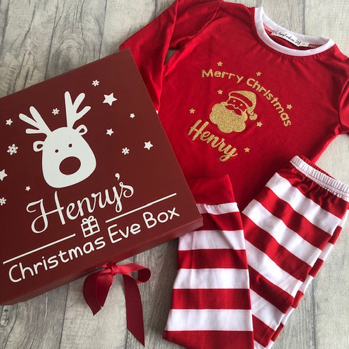 Our NEW personalised Christmas Eve box and Merry Christmas pyjama sets for girls and boys, unique and handmade