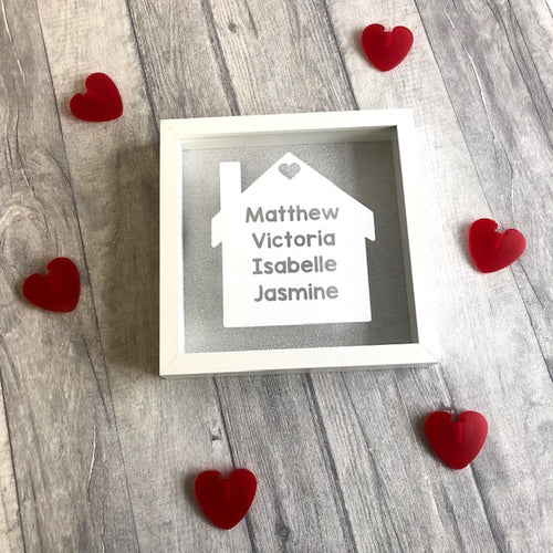 Personalised family names in a house house box frame home decor