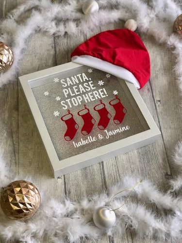 Christmas Santa Please Stop Here Personalised Home Decor Frame. High quality clothing at affordable prices, great prices for Christmas outfits, follow us on Instagram.