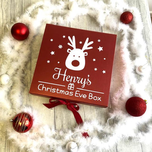 Personalised Girl and Boys Red Reindeer Christmas Eve Box Keepsake Gift