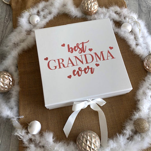 Personalised Best Grandma Ever (Mum, Dad, Grandad...) keepsake gift ribbon box