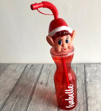 Elf Christmas personalised children's red straw water / drinks bottle