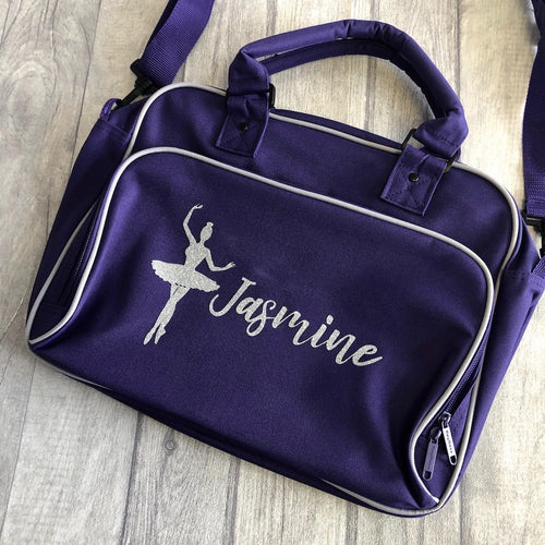 Personalised Shoulder Strap Dance Bag with Ballerina Figure