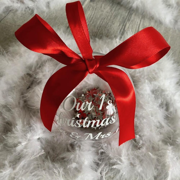 Sparkly Personalised Our 1st Christmas Wedding Mr & Mrs Bauble