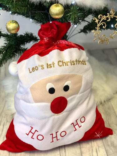 Personalised Baby 1st Christmas Santa Stocking Gift Present Sack