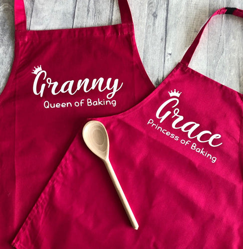 Personalised Queen and Princess of Baking Kids & Adult Baking Cooking Aprons Set