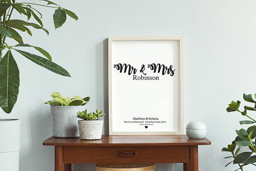 Personalised Wedding Anniversary Wall Print Gift