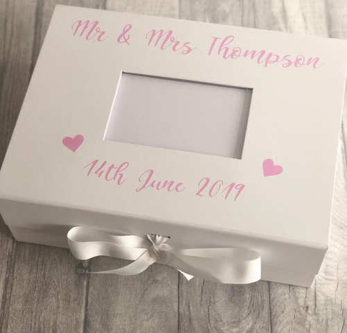 A great gift for a bride on her wedding day. A beautiful gift box that can also be used as a storage box for your wedding gifts, storage for your belongings or a keepsake box to hold all your memories in