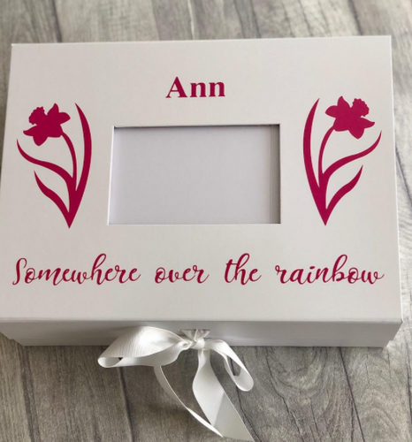 Somewhere oner the rainbow A4 Photo Box Remembrance Keepsake Bereavement Gift