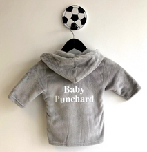 Personalised Baby Surname Grey Hooded Dressing Gown/Robe