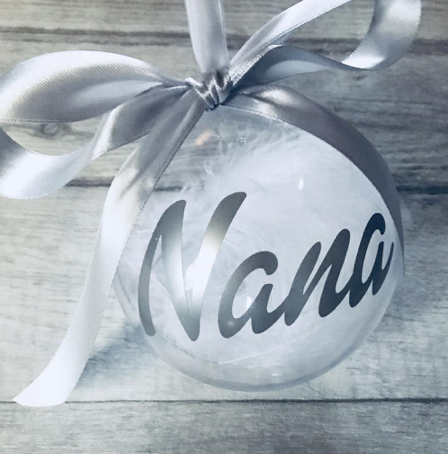 Personalised Name Feather Filled Christmas Bauble Decoration Gift