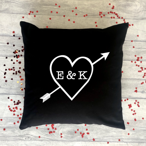 Personalised Heart Arrow Initial Valentine's Gift Cushion