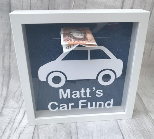 Personalised car saving fund money box gift