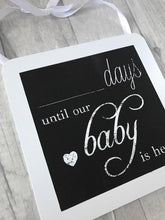 Baby arrival day countdown chalkboard plaque.Baby arrival day countdown chalkboard plaque. Perfect for any style of house, it fits any interior whether that be older or modern. A perfect asset to the look of your home