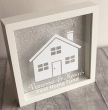 The perfect personalised gift for someone saving money for their first home. Gorgeous white box frames with glitter background. Perfect for people who love sparkles.