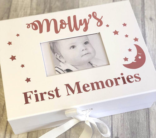 A personalised A4 baby photo box. Perfect for all your baby photo memories to keep forever. A keepsake. Given as a thoughtful pretty gift or for yourself.