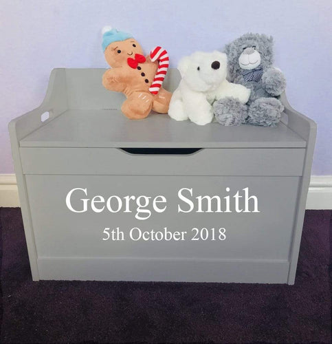 Personalised Birthday Baby Girl or Boy grey toddler wooden Toy Storage Box