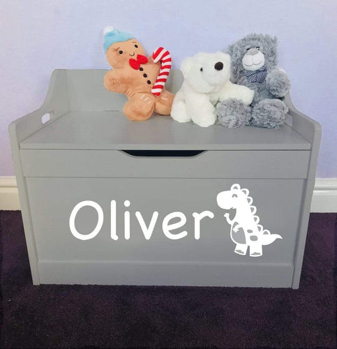 Personalised Dinosaur Baby Girl or Boy grey toddler wooden Toy Storage Box