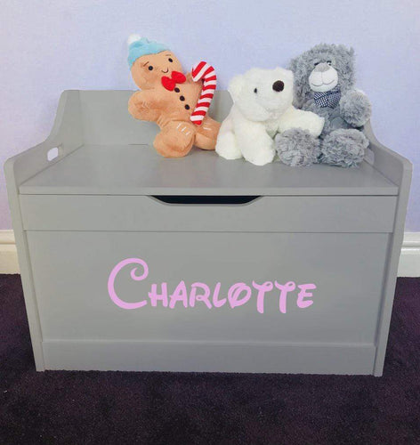 Personalised Baby Girl or Boy grey toddler wooden Toy Storage Box