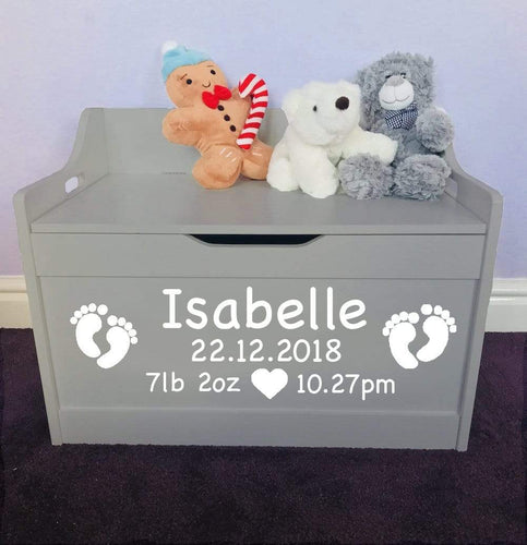 Personalised Grey Birthday Newborn Baby Girl or Boy toddler wooden Toy Storage Box