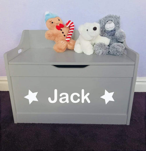 Personalised Baby Girl or Boy grey toddler wooden star Toy Storage Box