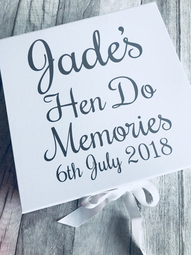 Personalised Hen Party to be memory/keepsake wedding box