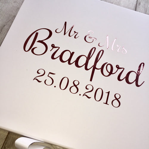 Personalised Rose Gold Mr & Mrs Wedding memory/keepsake gift box