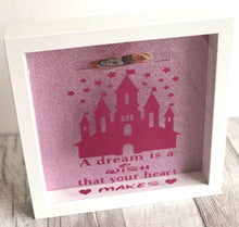 The most perfect gift for a little one saving for Disneyland Paris or Disney world Florida. Paris is where all dreams come true. Gorgeous white box frames with a pink glittery background for those who love extra sparkles. Personalised with any writing you wish.
