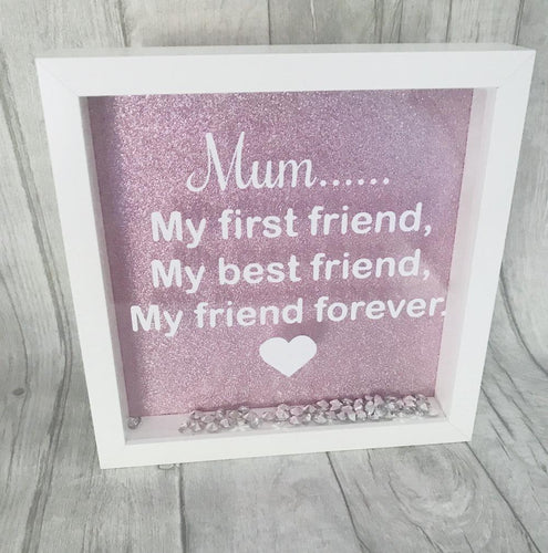Perfect gift for mothers day. My first best friend, my friend forever gift. Gorgeous white box with a pink sparkly background and gems at the bottom for added decoration.