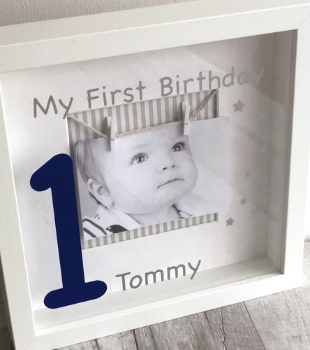 Beautiful My First Birthday Box frame, fits a modern interior in a home.