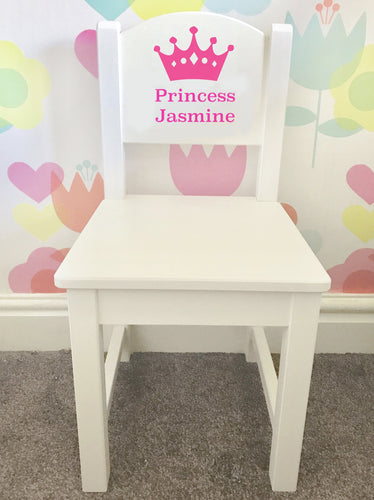 Personalised Girls Princess white and pink wooden nursery chair
