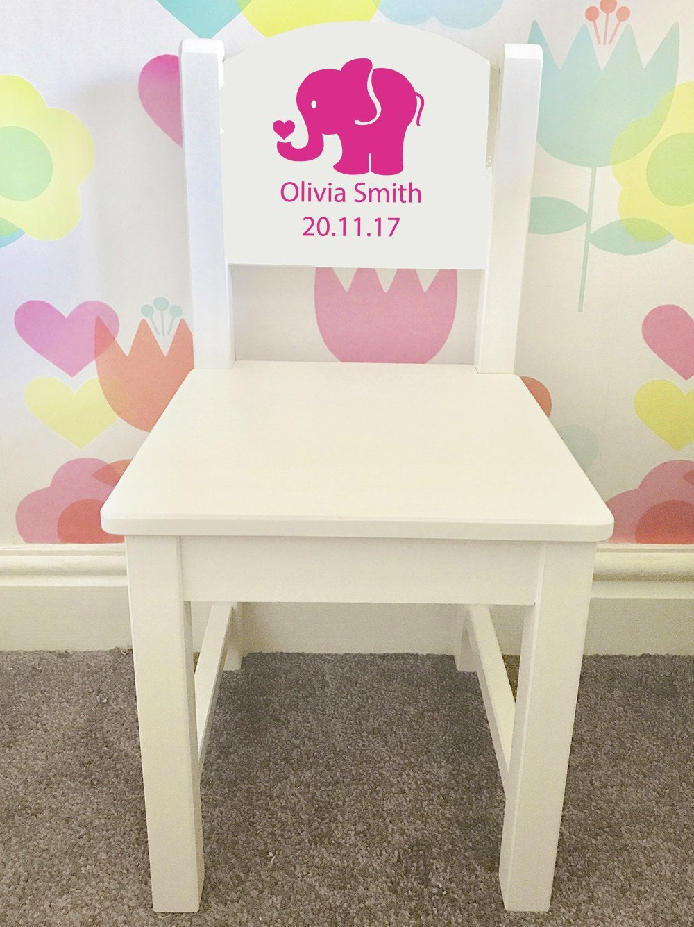 Personalised Girl or Boy Elephant Design white wooden nursery chair