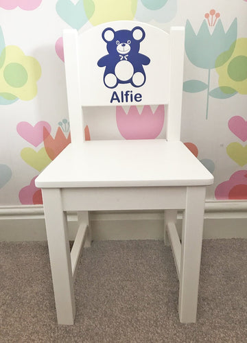Personalised Girl or Boy Teddy white wooden nursery chair