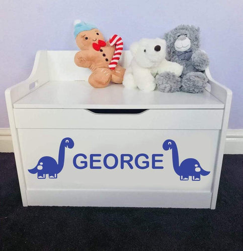 Personalised Dinosaur Baby Girl or Boy white toddler wooden Toy Storage Box