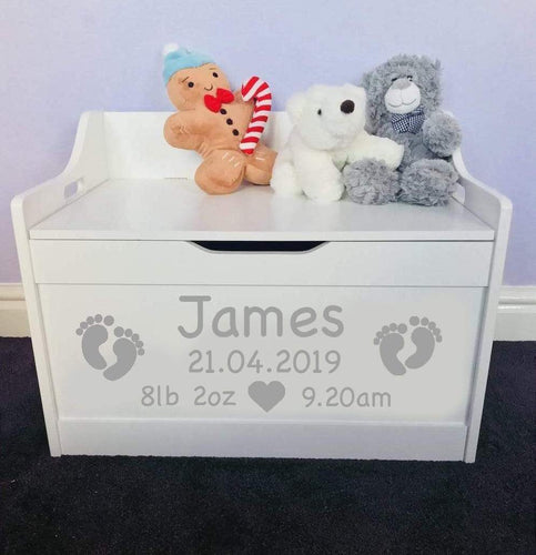 Personalised Birthday Newborn Baby Girl or Boy white toddler wooden Toy Storage Box