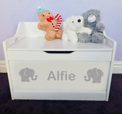 Personalised Baby Girl or Boy Elephant Design White Toddler Wooden Toy Storage Box