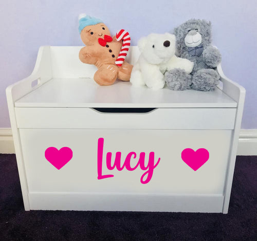 Personalised Baby Girl or Boy Heart Design White Toddler Wooden Toy Storage Box
