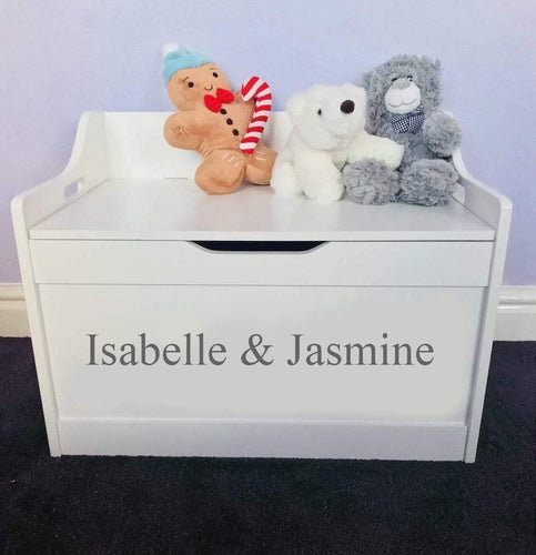 Personalised Children's Sibling's Brother & Sister white toddler wooden Toy Storage Box