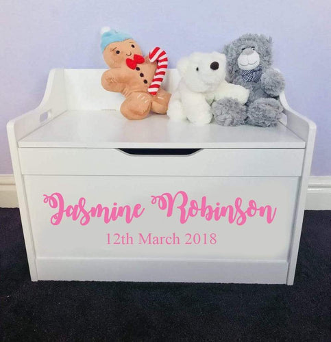 Personalised Birthday Baby Girl or Boy white toddler wooden Toy Storage Box
