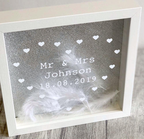 Mr & Mrs Wedding Day Personalised Engagement Feather filled box frame