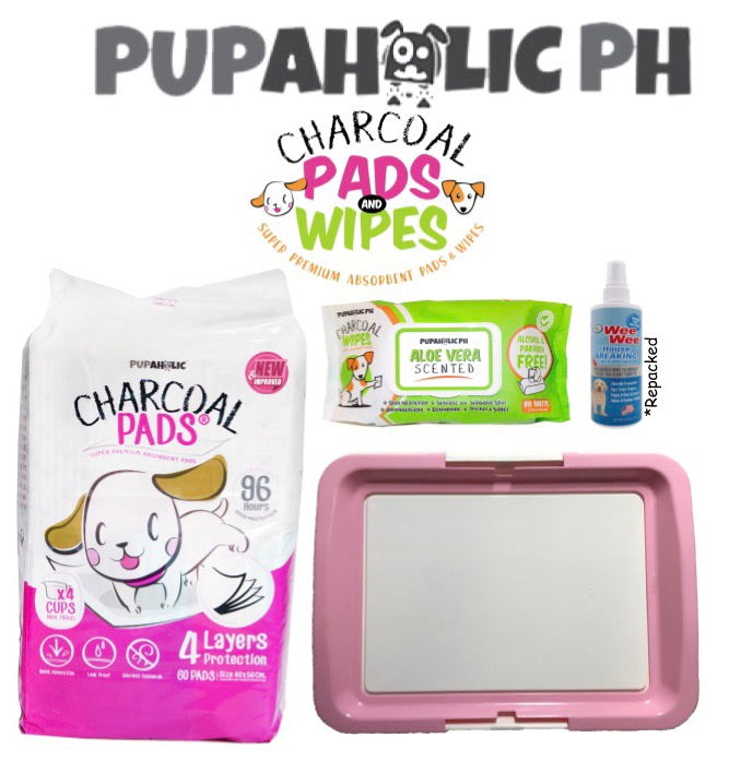 STARTER PACK: 1 Bag NEW and IMPROVED Medium Pads, Pink Medium Peepad Holder, Wipes and Repacked Fourpaws Weewee Spray