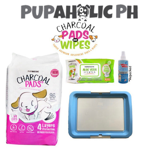 STARTER PACK: 1 Bag NEW and IMPROVED Medium Pads, Blue Medium Peepad Holder, Wipes and Repacked Fourpaws Weewee Spray
