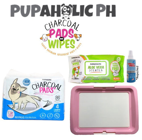 STARTER PACK: 1 Bag NEW and IMPROVED Large Pads, Pink Large Peepad Holder, Wipes and Repacked Fourpaws Weewee Spray