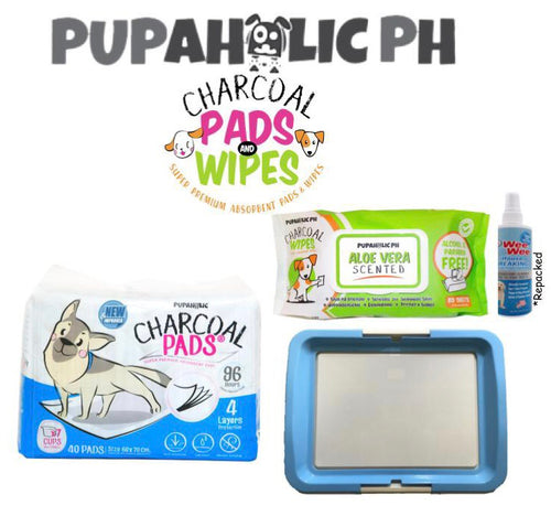 STARTER PACK: 1 Bag NEW and IMPROVED Large Pads, Blue Large Peepad Holder, Wipes and Repacked Fourpaws Weewee Spray