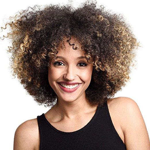 Curly Wigs For Black Women Short Afro Wigs Kinky Curly Style Hair Synthetic Wig 140extra Thick As Pic