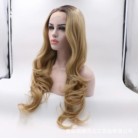Dark Brown Rooted Light Blonde Lace Front Wigs for Women Best Synthetic Hair  Wavy Wig ae4284c7b8
