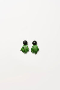 Earrings in green acacia